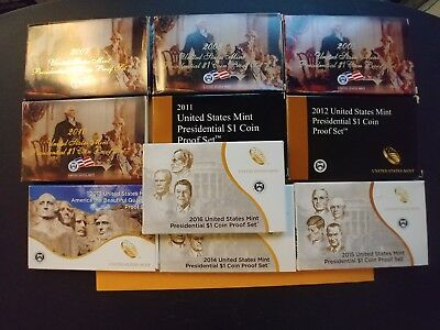 US MINT 2007-2016 Full 10 years of Presidential $1 Coin Proof Sets (case+COA)
