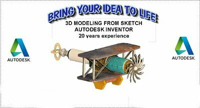 3D CAD Modeling,  Autodesk INVENTOR,  Assemblies, Parts, Production drawings.