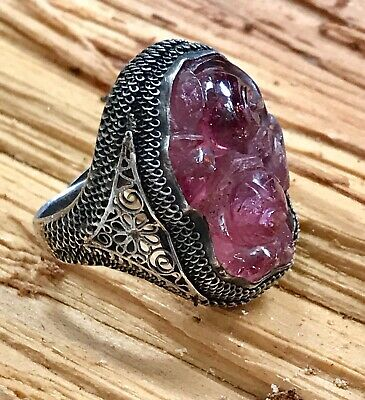 Antique Vintage CHINESE Pierced and Carved AMETHYST w Silver FILIGREE Ring