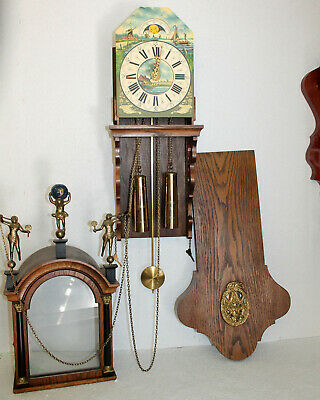 Old Wall Clock Dutch Warmink Vintage 8 Day Chain Driven Friesian Clock Moonphase