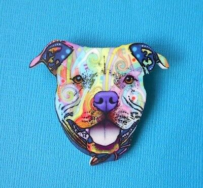 Staffy Dog Brooch Badge Puppy Acrylic Shaped Pin Multi-Col Stafford Bull Terrier