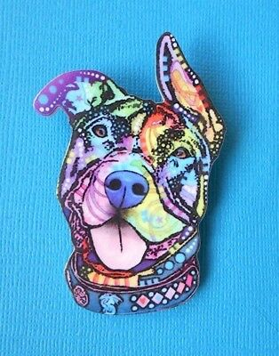 Staffy Dog Brooch Badge Puppy Acrylic Shaped Pin Multi-Col Bull Breed Terrier