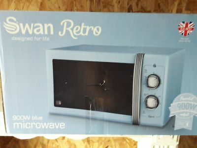 Swan Retro, manuel micro-ondes, 20 Litre, 900 Watt, Power - Blue