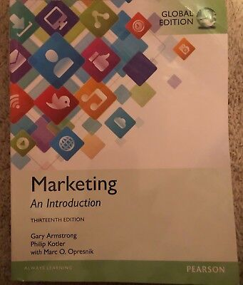Marketing: An Introduction, Global 13th Edition Pearson Gary Armstrong Like New
