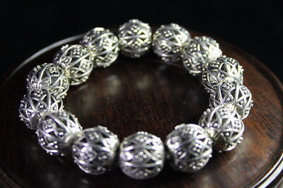 Collection Handmade Miao Silver Carve Hollow Out Flower Pattern Noble Bracelet
