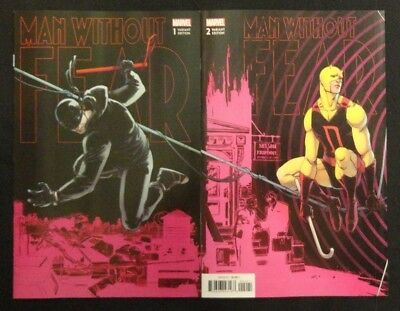 Man Without Fear #1 & #2 Daredevil Connecting Variant Set Lot of 2 NM