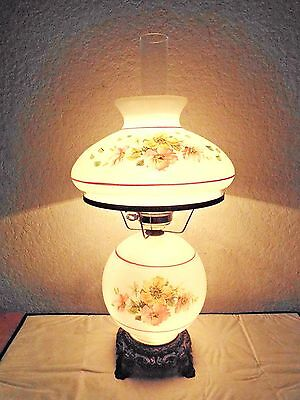 Gone With The Wind Vintage 3-Way Thick Cased Glass Floral Display Hurricane Lamp