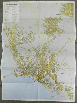 Folding brochure with a geographical map ITALIA CAGLIARI written in French 70s