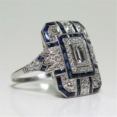 Antique Art Deco Large 925 Jewelry Silver Blue Sapphire & Diamond Ring size 6