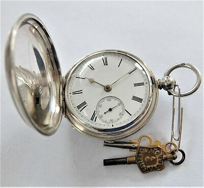 1880 Silver Cased Fusee Full Hunter Pocket Watch G J Powell Southampton Working
