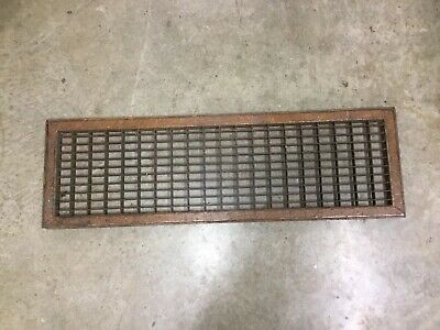 "Antique Metal Floor Wall Register Vent Grate Vintage 10"" X 32"""