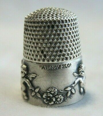 ANTIQUE LATE 1800s SIMONS STERLING SILVER CHERUBS BAND SZ 8 THIMBLE