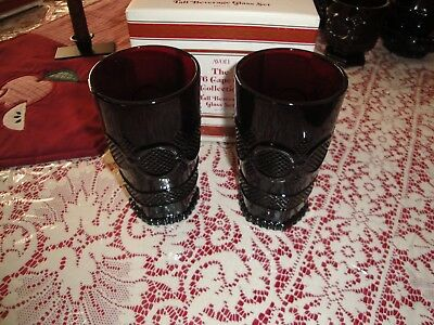 Avon 1876 Cape Cod Collection Ruby Red Tall Tumblers New in Box (2)