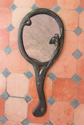 ART NOUVEAU ITALY BRASS HAND MIRROR Figural Woman Gazing at Reflection Flowers