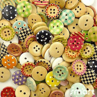 50pcs Assorted Wood Round Grid/Dots Sewing  Round Buttons Lot 15mm Craft Cards