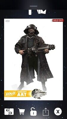 Topps Star Wars Card Trader Bodhi Rock Solo Story Concept Art GOLD 26cc