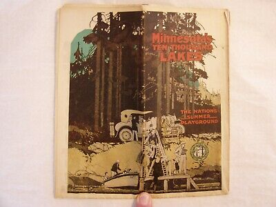 Antique 1925 Minnesota's Ten Thousand Lakes Map And Travel Brochure Gas Oil Auto