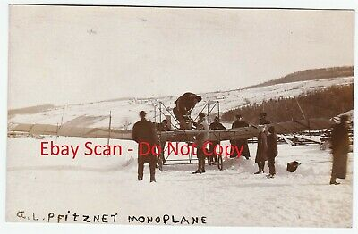 RARE RPPC - Pfitzner Monoplane Aviation Curtiss Hammondsport NY 1910 Real Photo