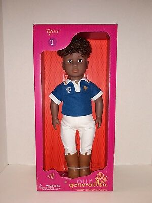 """OUR GENERATION TYLER 18"""" AFRICAN AMERICAN BOY DOLL WITH RIDING OUTFIT NIB"""