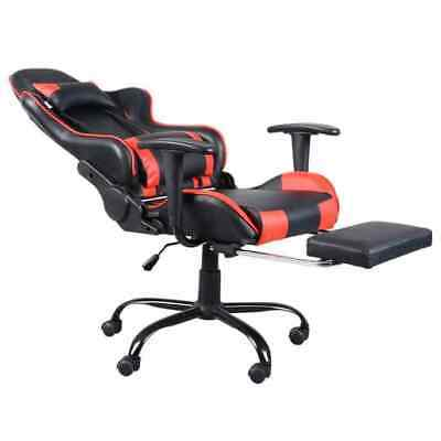High Back Swivel Chair Racing Gaming Office with Footrest Tier Desk Seat Comfort