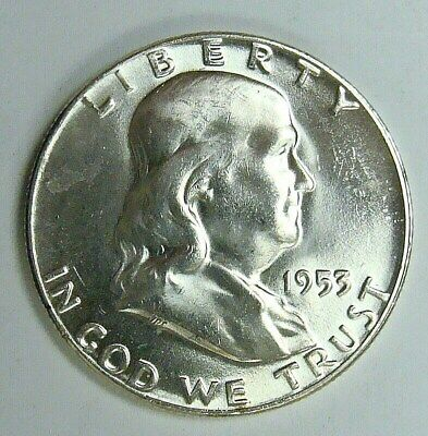1953 Gem Bu Franklin  Half, Nice Better Date Collector Coin, Free Shipping