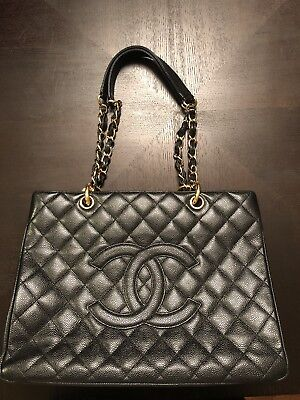 83f188d240c8 CHANEL BLACK QUILTED Caviar Leather Grand Shopping Tote Bag ...