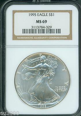 1995 American Silver Eagle S$1 ASE NGC MS69 MS-69 Premium Quality PQ+ !!!