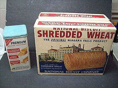 RARE Vintage ~1940's NABISCO Shredded Wheat Large Advertsing Box AND Cracker Tin