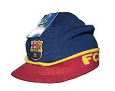 "eff9b4c098d ""Brand New"" Official FC Barcelona Visor Blue Beanie Cap Hat Winter Hat """