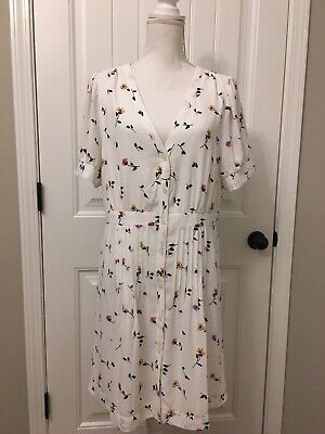 cb92001b39d New Madewell Daylily Pintuck Dress Sweet Blossoms Matilda White Wash Sz 14  J7429