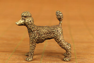 Lovely chinese Old bronze hand carving toy poodle statue figure gift good stand