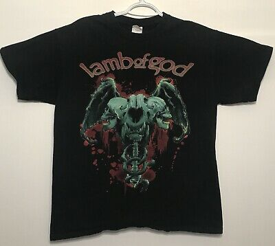 Lamb Of God LoG Skull Wings Black T Shirt Heavy Death Metal Large
