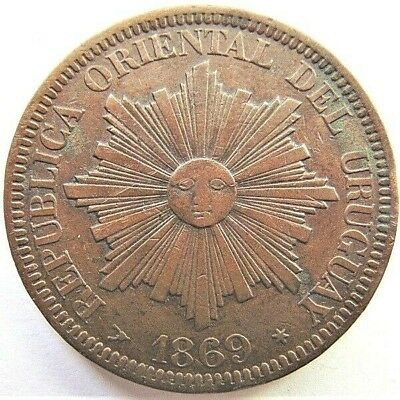 1869 URUGUAY 4 Centesimos grading Good VERY FINE.