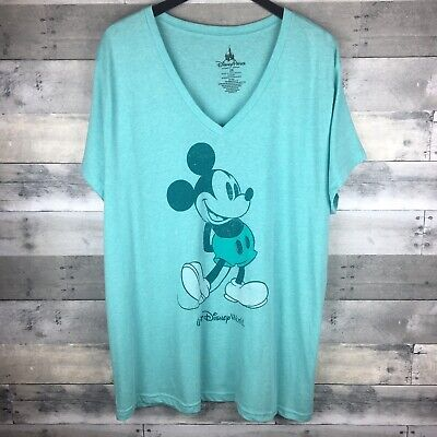 a783a758a50 MICKEY MOUSE DISNEY Parks Women s V Neck T Shirt RARE Size 2X All Mint  Green -  35.87