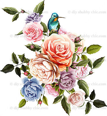 Furniture Decal Vintage Image Transfer King Fisher Flower Shabby Chic Antique