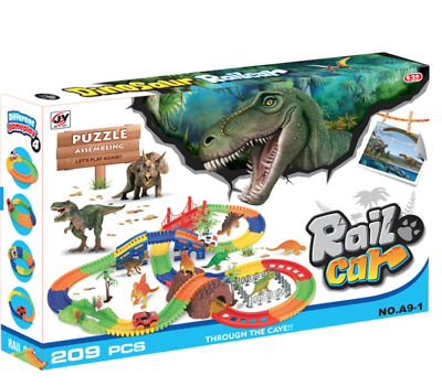 Dinosaur Park 133 Pieces  5x Dinosaurs and  Puzzle with electric car & track