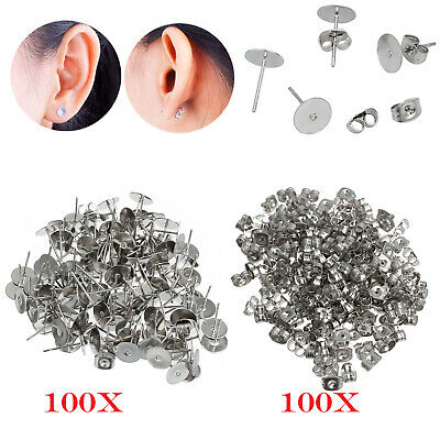 100Pair Flat Stud Earring Post 6mm Pads and backs Hypoallergenic Surgical Steel