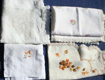 Vintage 70s 4 X  LINEN Rayon CLOTHS, Supper and larger Hand worked, Estate lot