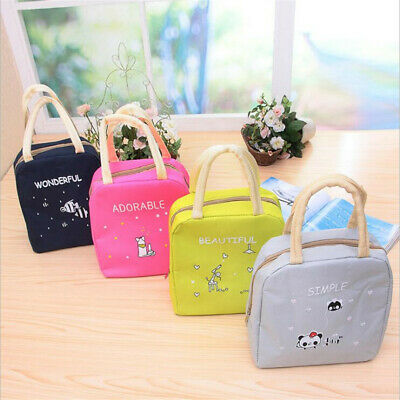 Cute Cartoon Portable Thermal Insulated Bento Lunch Box Tote Storage Pouch LG