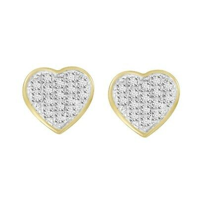 1/10 cttw Round Natural Diamond Yuva Heart Shape Cluster Stud Earrings With