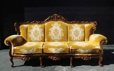 Antique French Louis Style gold yellow Velvet Lounge Vintage Sofa Couch