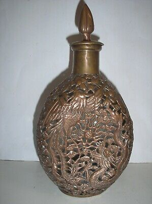 Chinese Copper Overlay Glass Decanter Phoenix Dragon