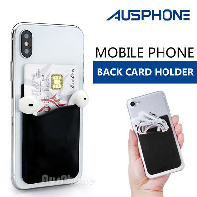 Silicone Credit Card Holder Cell Phone Wallet Pocket Sticker Adhesive Black