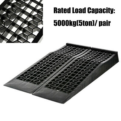 2x Portable 5 Ton Low Profile Car Ramps 70mm Rise Antiskid Lowered Ramp Outdoor