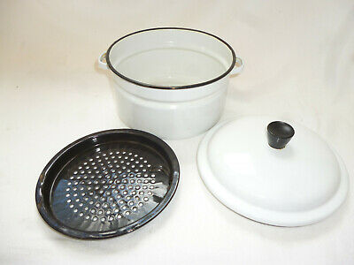 1970s VINTAGE RETRO ENAMEL WARE LIDDED POT with STRAINER for DRIPPING etc