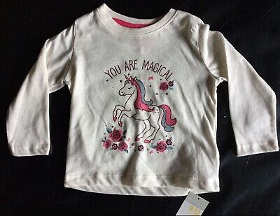 Baby Girls Cream Long Sleeve T Shirt with Magical Unicorn detail