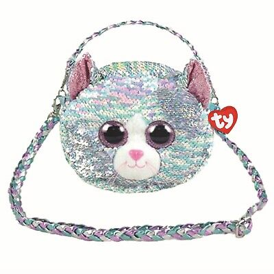 f5213e16ed5 Ty Beanie Babies 95133 Ty Gear Whimsy the Blue Cat Shoulder Bag Sequined