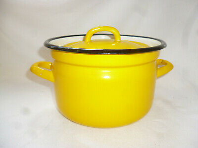 1970s VINTAGE RETRO YELLOW ENAMEL WARE 2litre CASSEROLE or STOCK POT - vg cond.