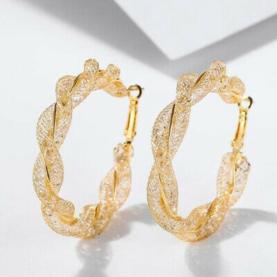 Gold Plated Big Twisted Round Circle Loop Hoop Earrings Jewelry for Women 6A