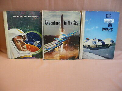 Nestle Conquest of Space,Adventure in the Sky,World on Wheels 3 Books 1950s 60s